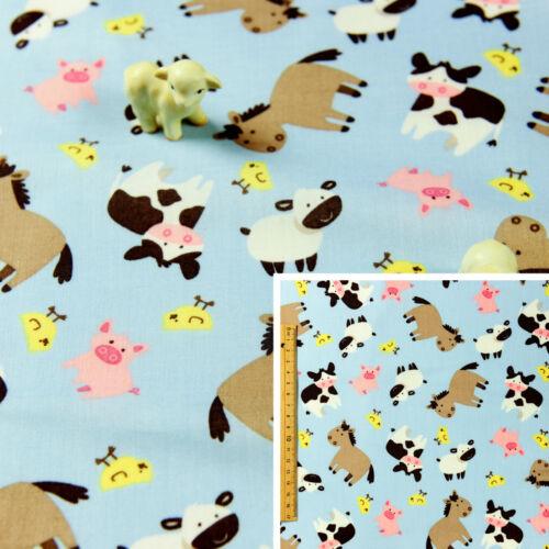 BLUE Fat QuarterCotton Fabric FQPatchwork Handmade MaterialKids Floral