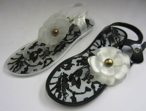 Black or White LadieS Jelly Sandals Toe Post Flower Detail F0482