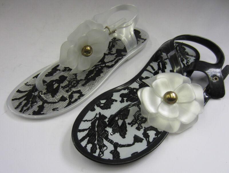 F0482 - Gelatina Di Ladies Sandali Infradito Fiore Dettaglio - Nero O Bianco