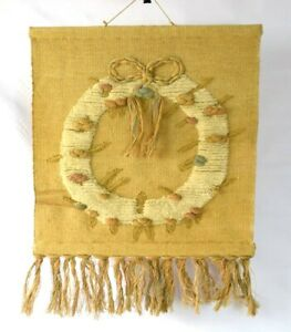 Vintage-1988-Burlap-Woven-Friendship-Ring-Fringe-Tapestry-Wall-Textile-Art-29-034