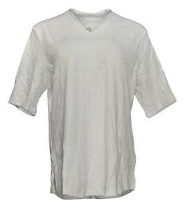 Isaac Mizrahi Live! Women's Top Sz L Essential V-Neck Elbow Sleeve White A289635