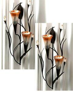 Set-of-2-Shimmering-12-5-034-DAWN-LILY-SCULPTURED-TEALIGHT-WALL-SCONCES-NIB