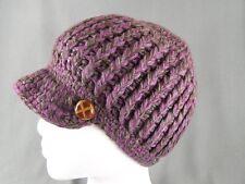 Purple Grey Brown chunky knit button ski brim hat cap beanie winter crochet
