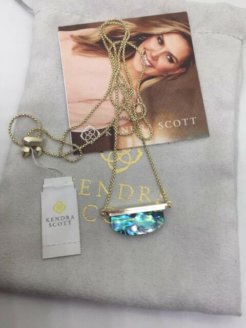 Kendra Scott Dean Hi Low Pendant Necklace in Abalone and Gold NWT SOLD OUT