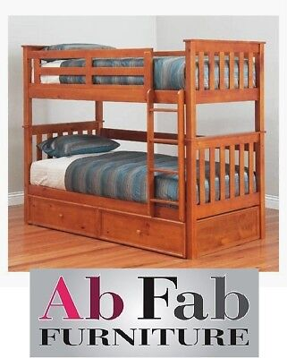 Bunk Beds Fort King Single Timber Bunk Bed Deluxe Trundle 95cm Head Space Ebay