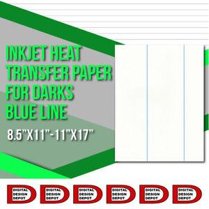 "Le Prix Le Moins Cher Inkjet Heat Transfer Paper For Darks Blue Line 8.5""x11"" - 11""x17"""