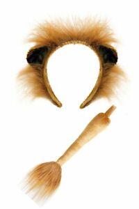 Kostümzubehör-Set Löwe Haarreif mit Ohren und Schwanz Braun Fell Kopfbügel
