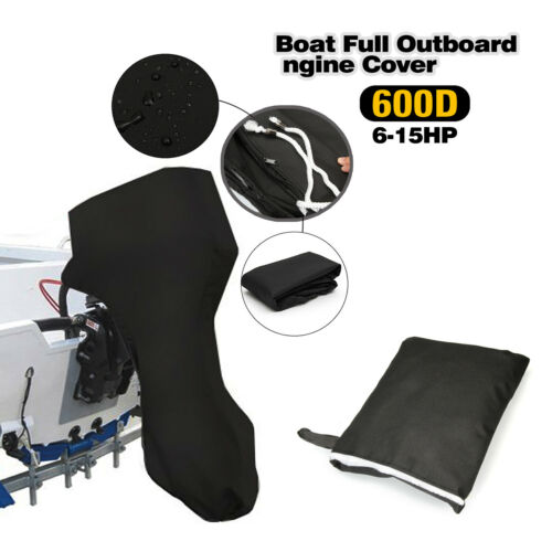 Black Boat Full Outboard Engine Motor Cover Fits Up 6 to 225HP