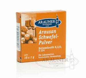 1-Packung-10x1g-Arausan-Schwefelpulver-Arauner-Kitzinger-fuer-Weinherstellung
