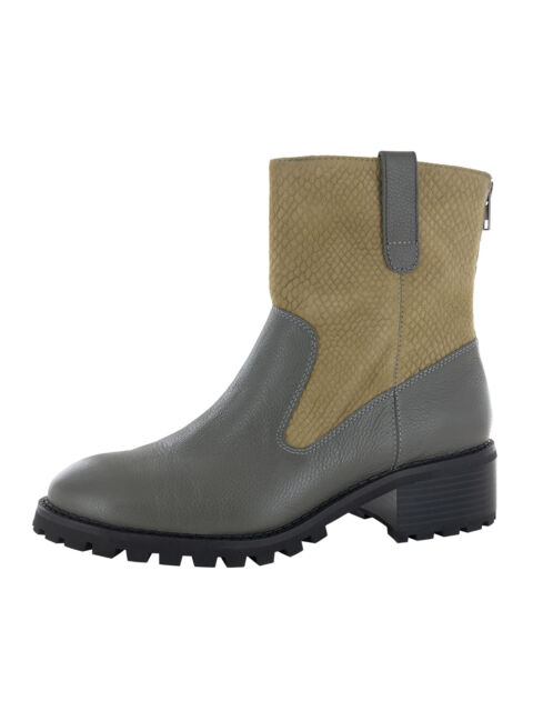Lori Goldstein Collection Womens Brandi Leather Boot Shoes, Grey, US 8.5