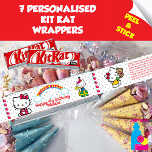 750be915f Image is loading 7-Personalised-Hello-Kitty-Kitkat-Birthday-Party-Favour-