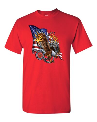 2035 American Flag With Eagle Firefighter T-Shirt