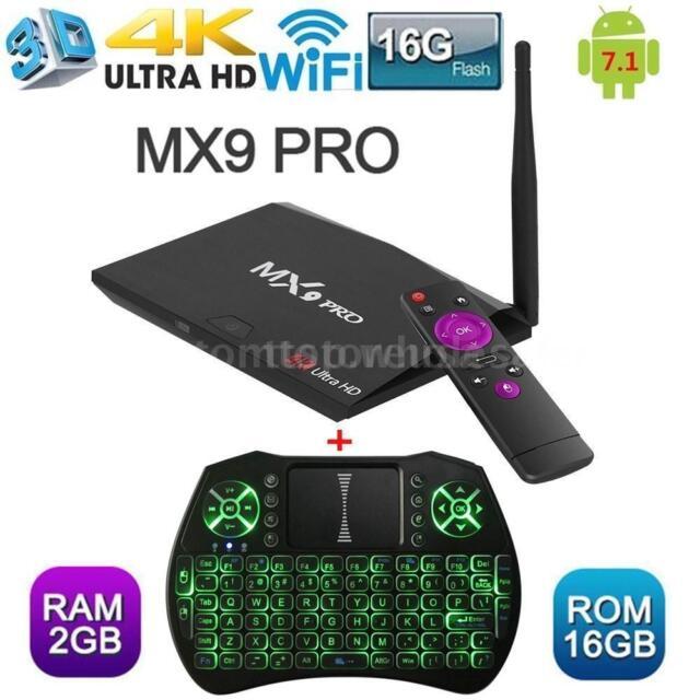 Smart TV Box RK3328 MX9 Pro Android 7 1 4K Quad Core 64Bit 2GB+16GB w/  Keyboard