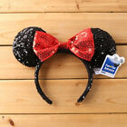 Disney Parks Minnie Mouse Red Black Sequin Headband - Ears Costume Bow Hat