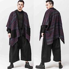Men Kimono Sleeve Cape Poncho Cloak Asymmetric Hem Sweater Cardigan Jacket Coat