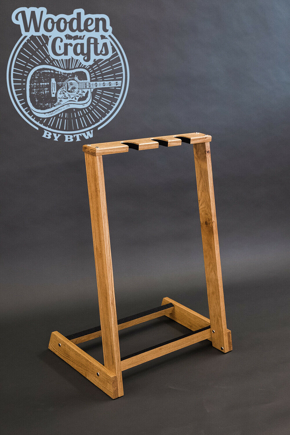 Solid Oak Wood Multi Wooden guitar stand, for 2, 3, 4, 5 or 6 guitars