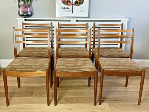 Teak Dining Chairs by Victor Wilkins for G-Plan, 1960s, Set of 6 Original Fabric