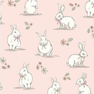 Woodland Cute Bunnies Rabbit 100% Cotton Fabric Curtain Craft Quilting Patchwork