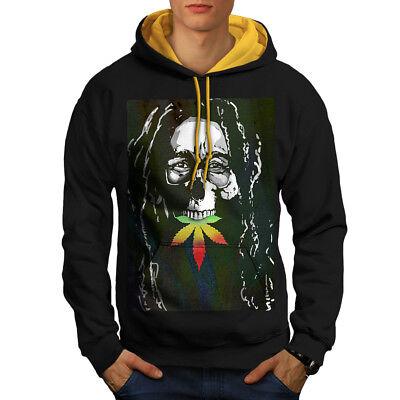 AnpassungsfäHig Wellcoda Skull Marley Weed Rasta Mens Contrast Hoodie, Music Casual Jumper