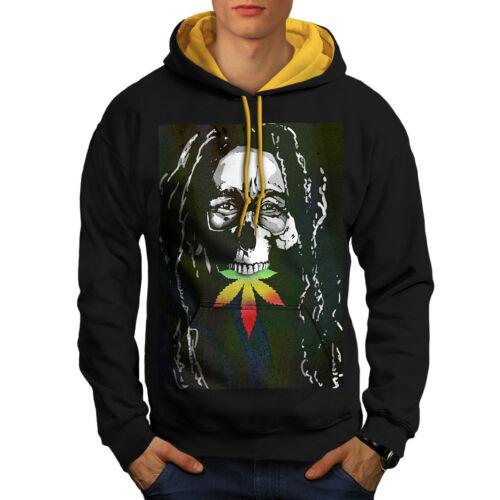 Men Weed Skull Black New Hoodie Contrast gold Rasta Hood Marley wxSSagC