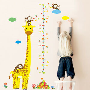 xxl wandtattoo giraffe affen kinder meßlatte wandsticker ... - Kinderzimmer Deko Tiere