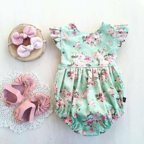 Newborn Baby Girl Flower Ruffle Romper Bodysuit Jumpsuit Outfit Clothes 0-18M