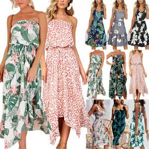 Womens-Boho-Floral-Midi-Dress-Sleeveless-Holiday-Beach-Casual-Sundress-Summer