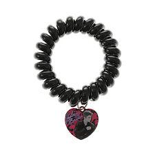 Justin Bieber Telephone Cord Bracelet Black JB Heart Charm Bravado Licensed NWT