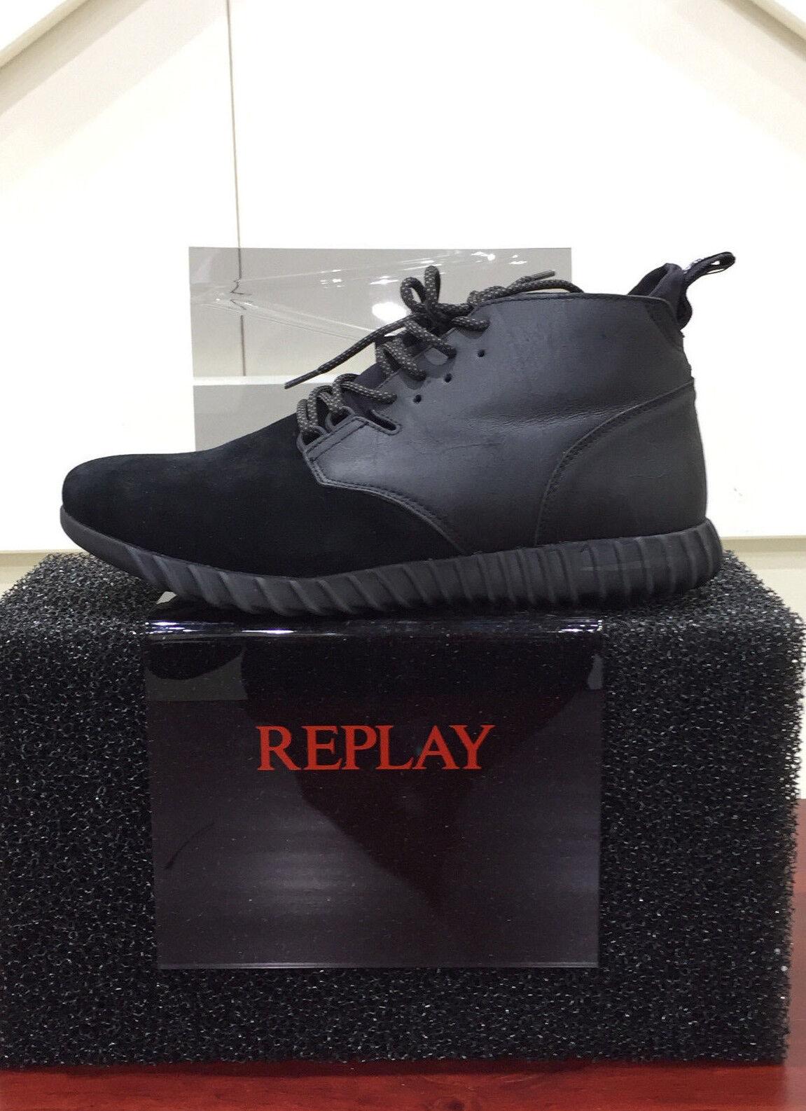 Replay Chaussures Hommes Chaussures De Loisirs Chaussures paniers véritable cuir stamford Noir