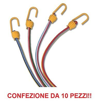 Corde Elastiche Fissa Bagagli Da 80 Cm - Confezione Da 10 Pezzi Forma Elegante