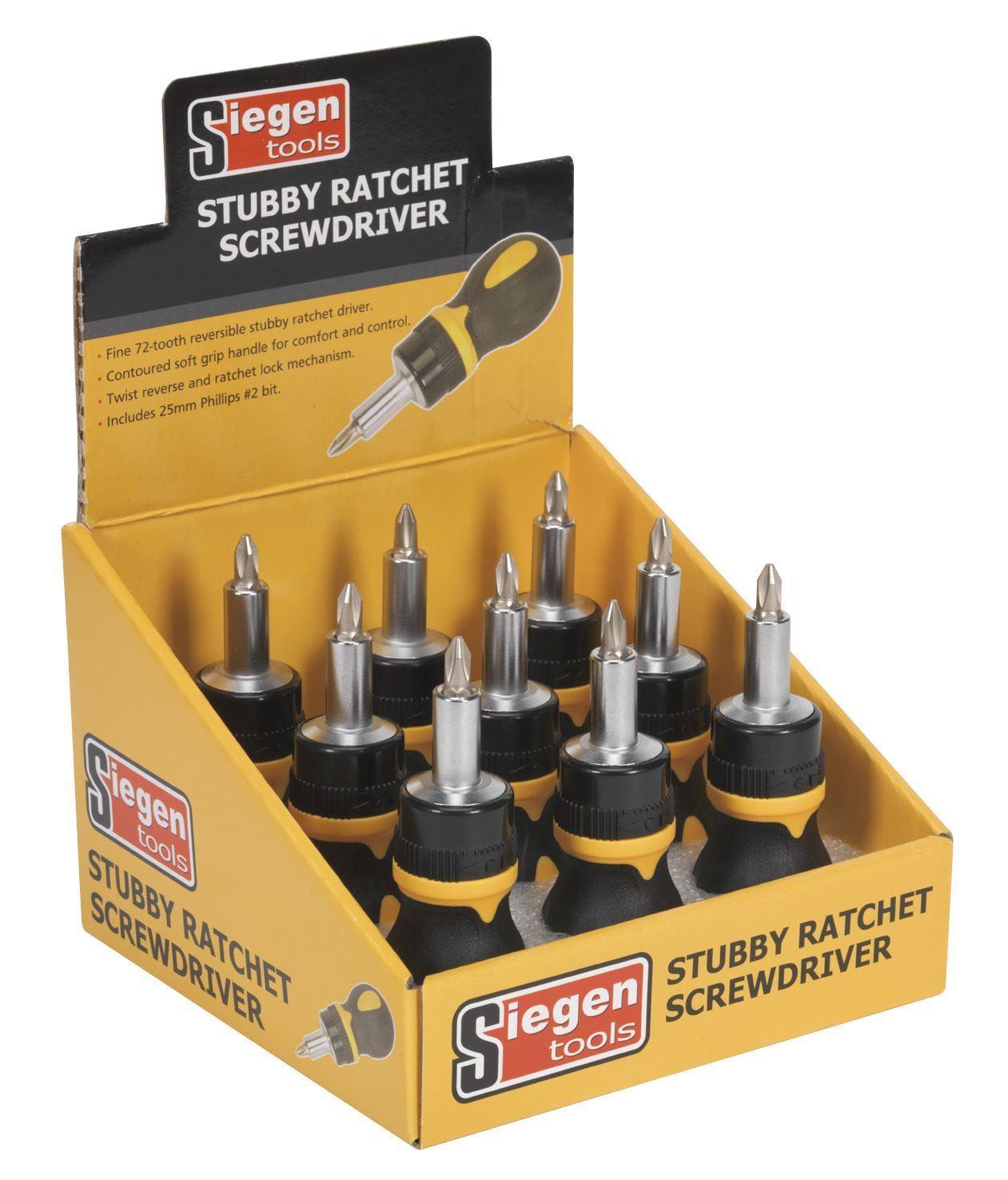 Siegen S0936 Screwdriver Ratchet Stubby Display Box of 9