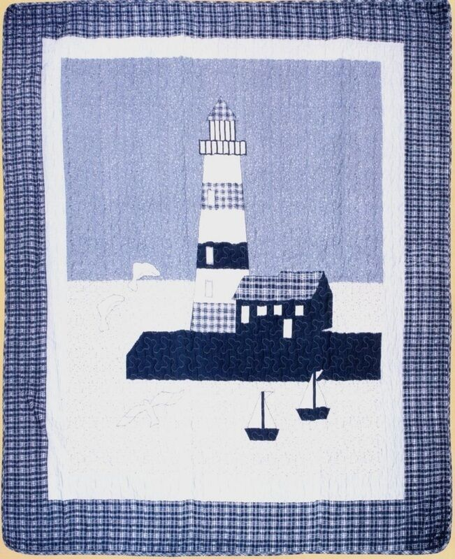 Lighthouse Quilted Throw Blanket 50 x60  - Seagulls Ocean Beach Sailing Fishing