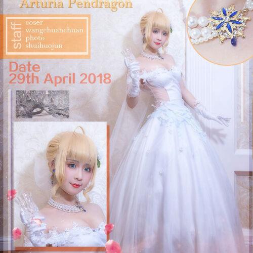 Fate Go FGO Avalon Saber Arturia Women White Wedding Dress Cosplay Costume Set