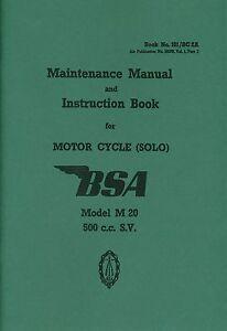 bsa m20 500cc sv wd motorcycle solo maintenance manual and rh ebay co uk BSA Bantam bsa m20 owner's manual