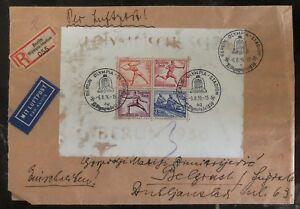 1936 Berlin Germany Olympics Souvenir Sheet Cover to Belgrade Russia  # B93