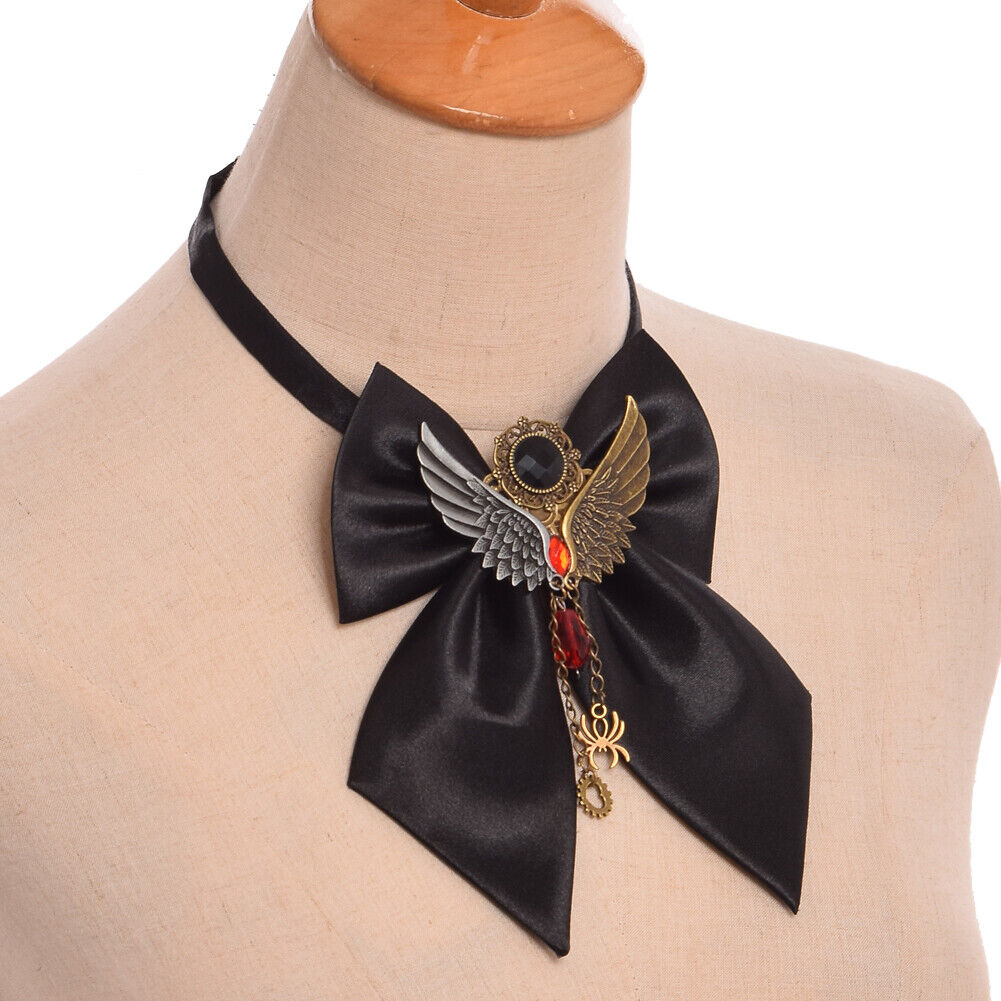 1pc Baphomet Wing Shape Spider Red Stone Tie Satanic Gear Pendant Bow Tie