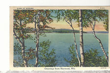Greetings From Haywood Wisconsin   Lake Scene   Mailed 1939  Linen Postcard 1917