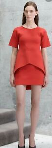 Scanlan-theodore-Crepe-Knit-Red-Cylinder-Skirt-Sz-S-8-10-Rrp-350