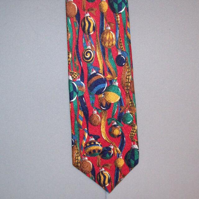 "Barbara Blank CHRISTMAS BULBS Holiday Print 57"" Neck Tie ..."