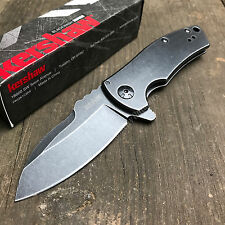 Kershaw Les George Spline 8Cr13MoV Plain Edge Blackwash Framelock Knife 3450BW