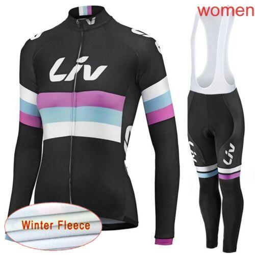 Winter bike Cycling Jersey Bib Pants Set Women/'s Thermal Fleece Bicycle Clothing