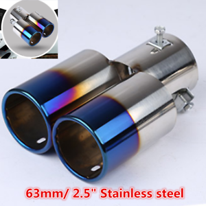 """2.5/"""" Car Exhaust Muffler Tip Dual Tail Pipe Stainless Steel Exhaust Tail Throat"""