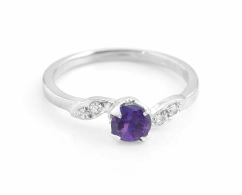 Amethyst 925 Sterling Silver Ring Natural Purple Gemstone Size H to V