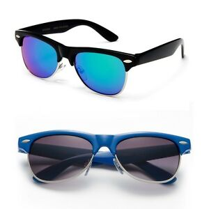 Kids-Unisex-Half-Rimmed-Style-Frame-Color-Sunglasses-Boys-Girls-Polarized-Mirror