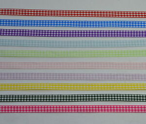10mm-gingham-ribbon-1m-5m-10m-LOTS-OF-COLOURS-bows-flowers-scrapbooking-cards
