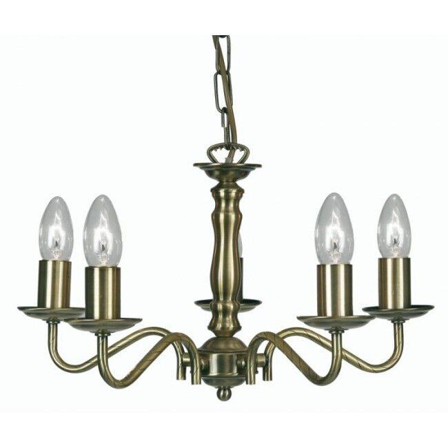 Une paire Oaks Nador gamme gamme gamme 5 LUMIÈRE plafonnier en laiton antique finition 8230-5AB | Jolie Et Colorée  350880