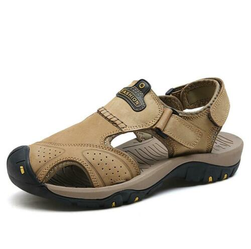 Top Herren Sommer Wandern Leder Strand Schuhe Geschlossene Zehe Fisher Sandalen