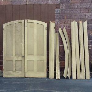 Antique Wood Arched Raised Panel Interior Door Set W Framework