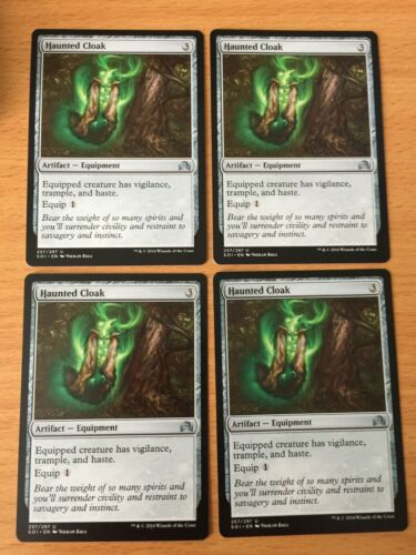 MTG Magic the Gathering Card Shadows over Innistrad Playset x4 Haunted Cloak Art