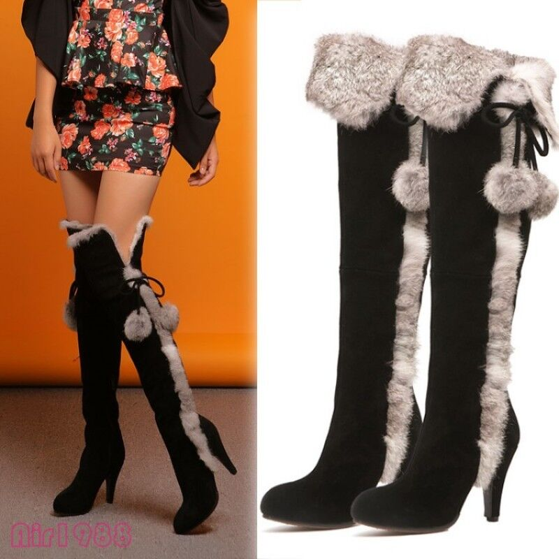 2017 Winter donna Warm Over the Knee High stivali Suede Fur High Heels stivali New